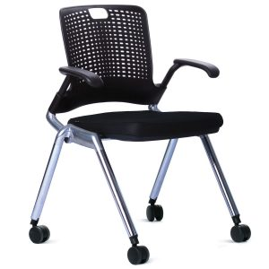 The Adapt Chair has a sturdy chrome frame with black castors a black seat pad and polypropylene back