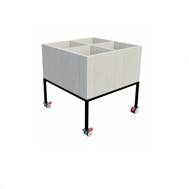 Fully welded black frame with locking castors and a divided melamine top for book storage