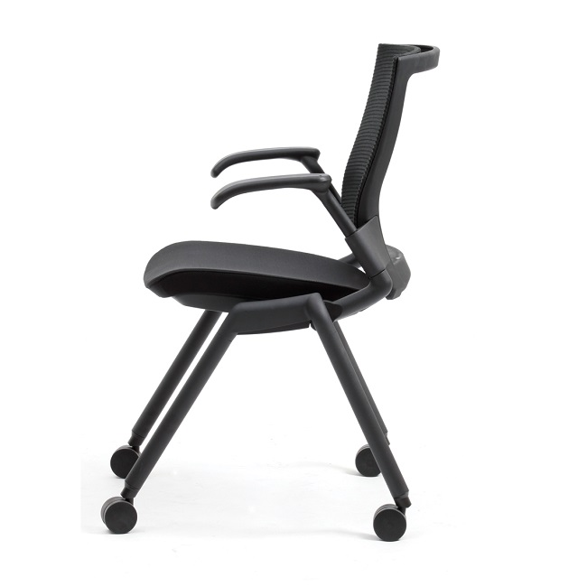 A black chair with a sturdy frame and heavy-duty castors, the back is breathable mesh with a nice comfy seat and very sturdy arms.
