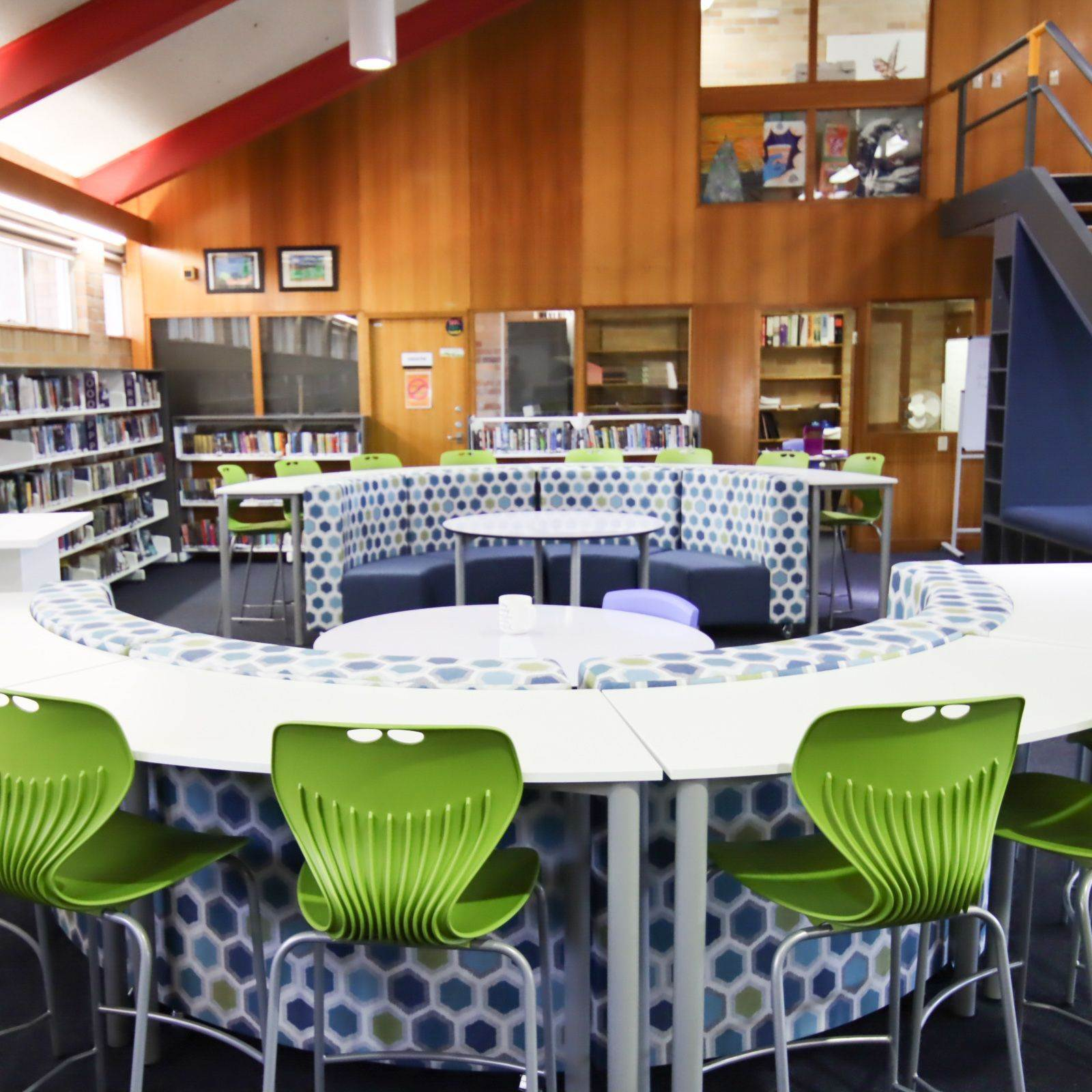 classroom space in library with stools and lounges