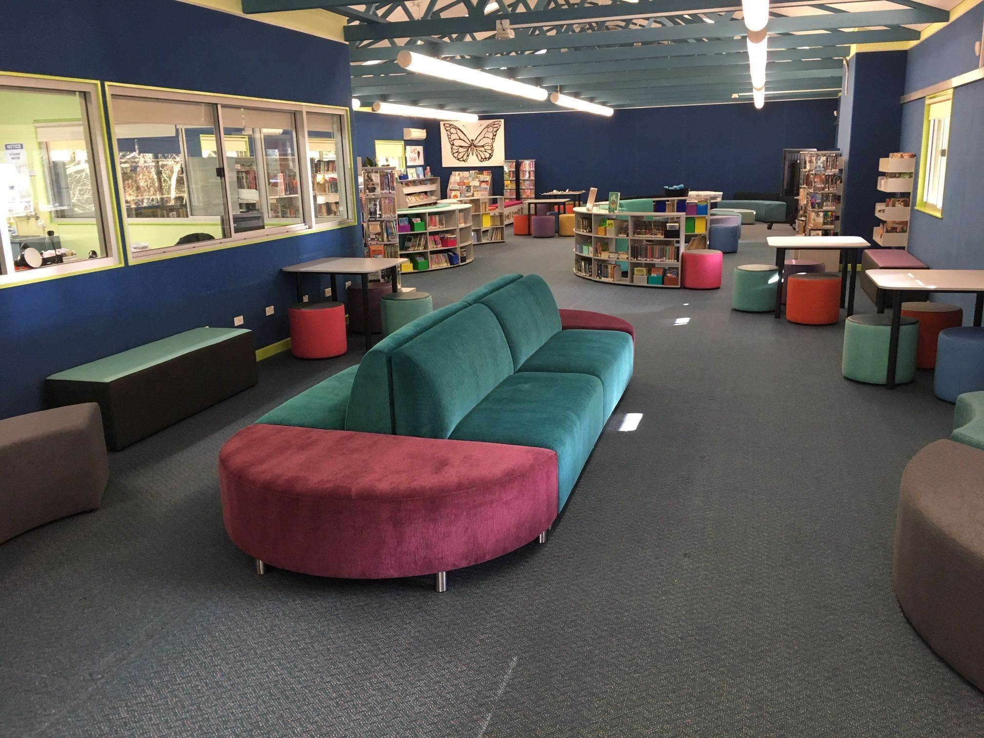 library space withBella lounges, tables and bookcases