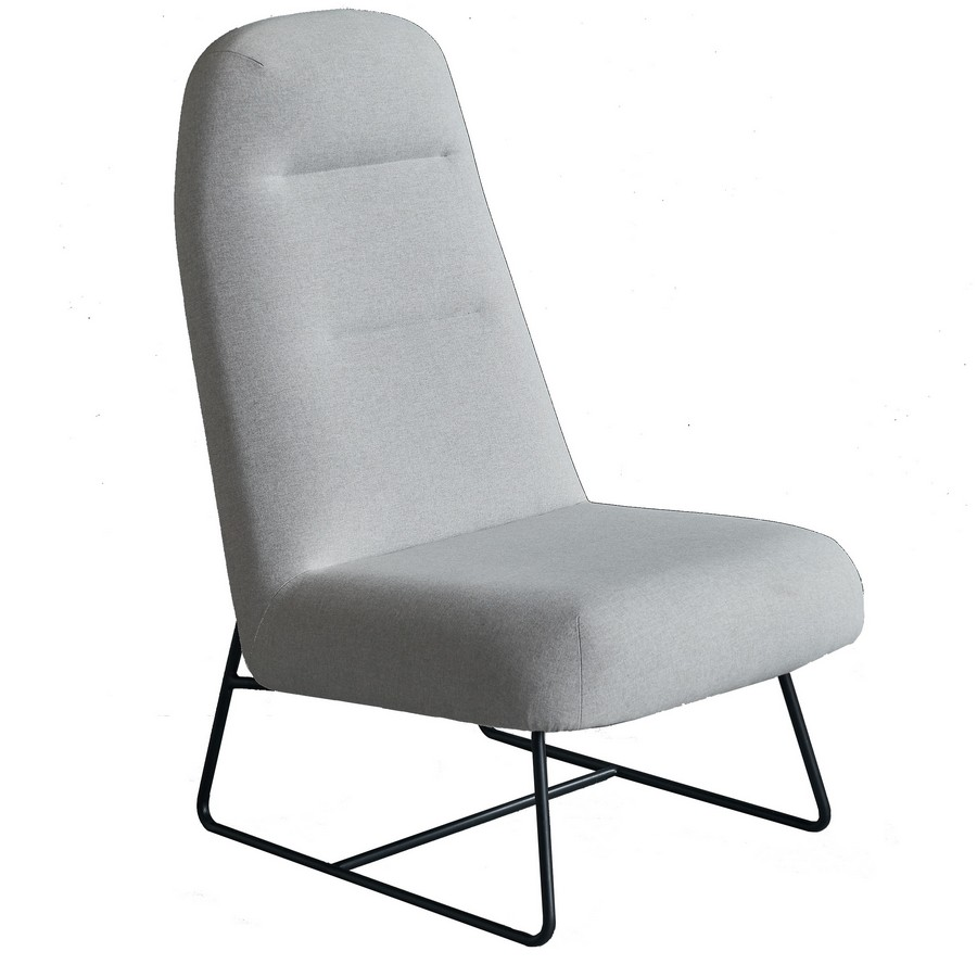 Puffy Lounge Chair with a High Back - Sled Base