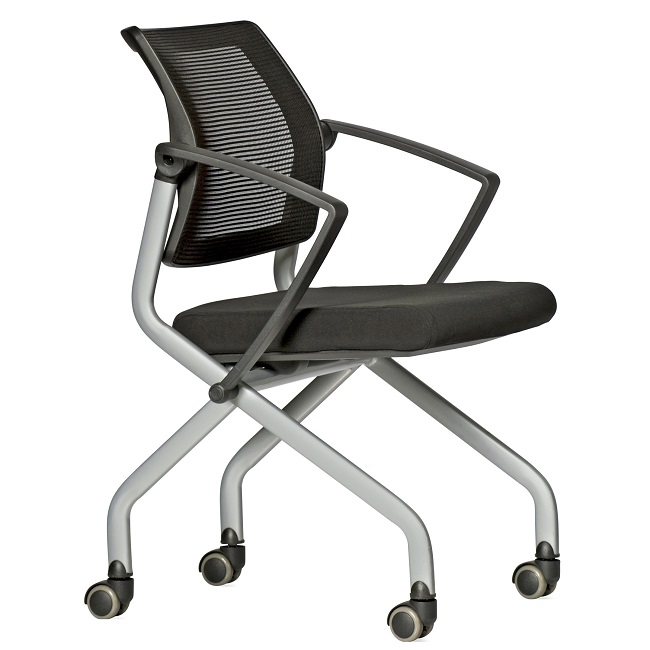 The Slider Chair has a sturdy aluminium frame with castors, the back is breathable mesh, and the seat is fitted with foam.